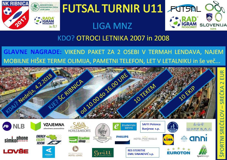 NK Ribnica organizator 6. turnirja FUTSAL lige U11